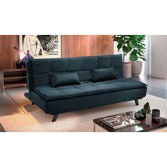 Sofa-Cama-3-Lugares-Azul-em-Veludo-189m-Haas---Ambiente