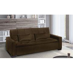 Sofa-Cama-3-Lugares-Marrom-em-Veludo-217m-Burano---Ambiente