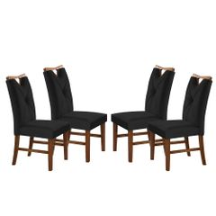Kit-4-Cadeiras-de-Jantar-Estofada-Preta-em-Veludo-Delik