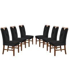 Kit-6-Cadeiras-de-Jantar-Estofada-Preta-em-Veludo-Delik
