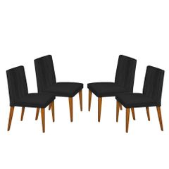 Kit-4-Cadeiras-de-Jantar-Estofada-Preta-em-Veludo-Dizayn