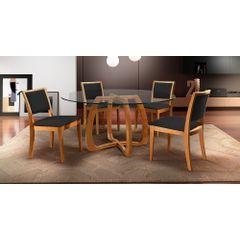 Kit-4-Cadeiras-de-Jantar-Estofada-Preta-em-Veludo-Kalip---Ambiente