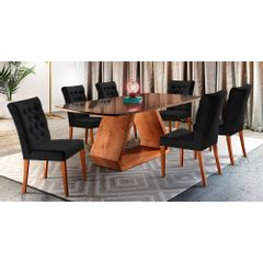 Kit-2-Cadeiras-de-Jantar-Estofada-Preta-em-Veludo-Sedye---Ambiente