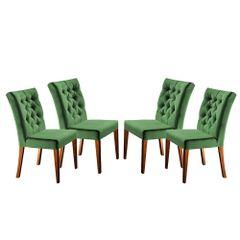 Kit-4-Cadeiras-de-Jantar-Estofada-Verde-em-Veludo-Sedye