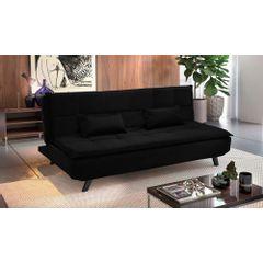 Sofa-Cama-3-Lugares-Preto-em-Veludo-189m-Haas-Ambiente