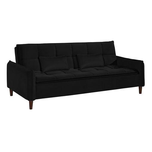 Sofa-Cama-3-Lugares-Preto-em-Veludo-210m-Roisey