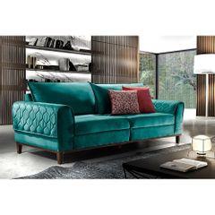 Sofa-3-Lugares-Azul-Esmeralda-em-Veludo-204m-Apus-Ambiente
