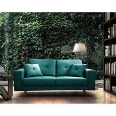 Sofa-2-Lugares-Azul-Esmeralda-em-Veludo-164m-Maia-Ambiente