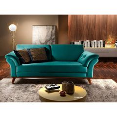 Sofa-2-Lugares-Azul-Esmeralda-em-Veludo-174m-Lilac-Ambiente