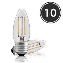 Kit-10-Lampadas-Vela-Filamento-LED-Clara-VL-35-E-27-2W-Branca-Quente-127V-Toplux
