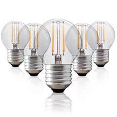Kit-5-Lampadas-Bolinha-Filamento-LED-Clara-BG-45-E-27-2W-Branca-Quente-127V-Toplux