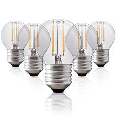 Kit-5-Lampadas-Bolinha-Filamento-LED-Clara-BG-45-E-27-2W-Branca-Quente-220V-Toplux
